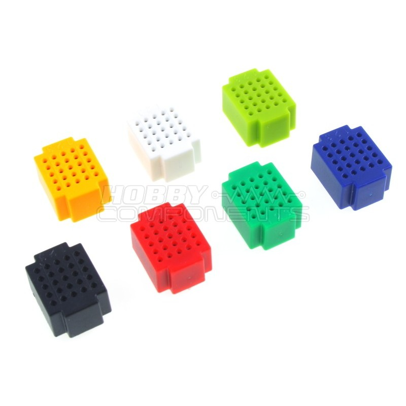 5x5 Mini breadboards in assorted colours