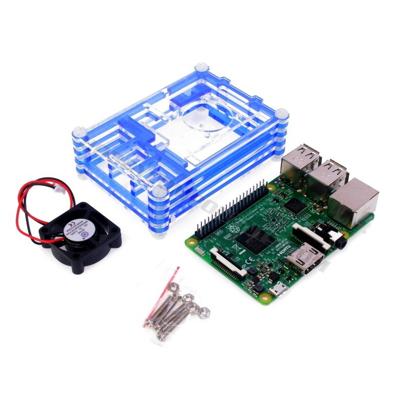 Raspberry Pi 3 and Stackable Case Bundle (Various Colours)