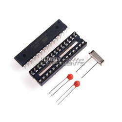 ATMega328 + Socket + Capacitor + Crystal