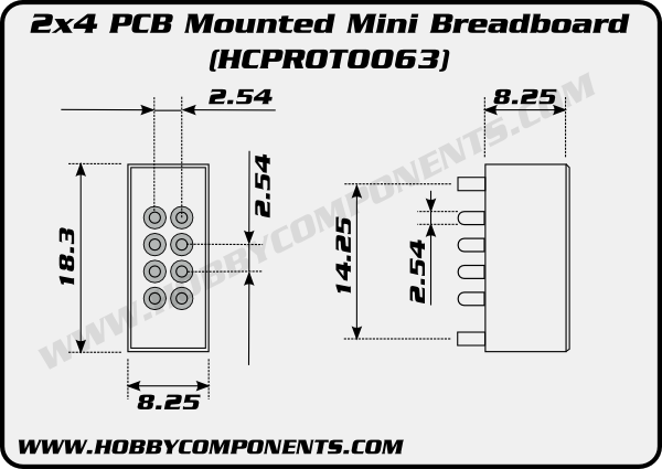 2x4 pcb mounted mini breadboard