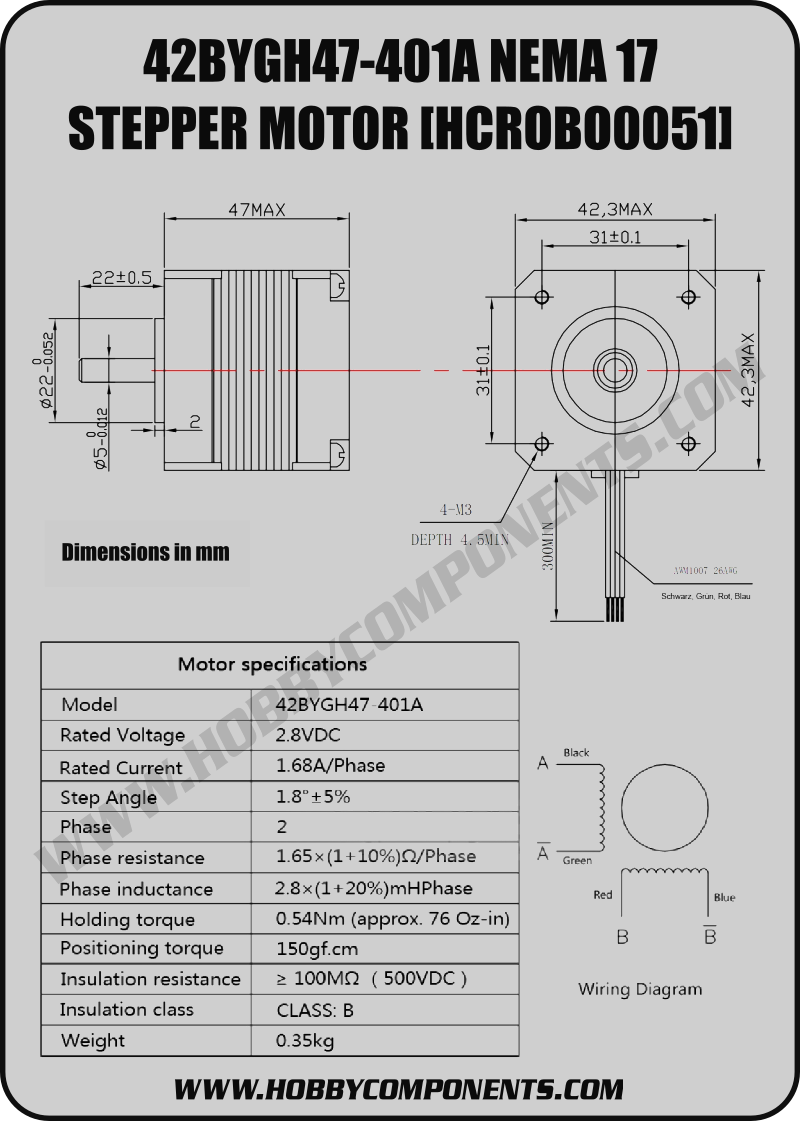 Nema 17 stepper motor wiring diagram wiring diagram and for Nema 17 stepper motor datasheet