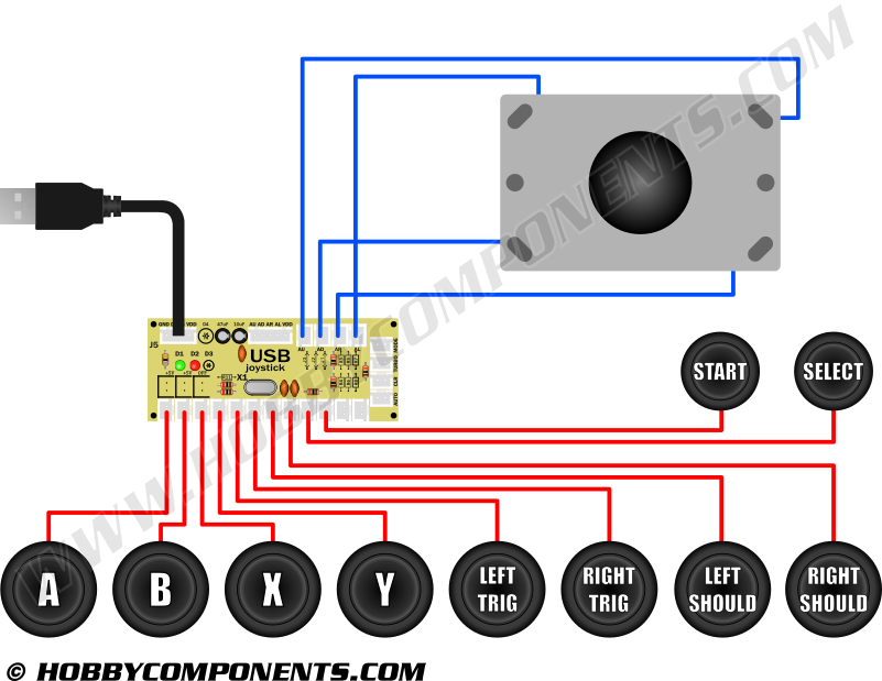 arcade joystick, button, and interface bundle - hobby ... joystick control panel wiring diagram #15