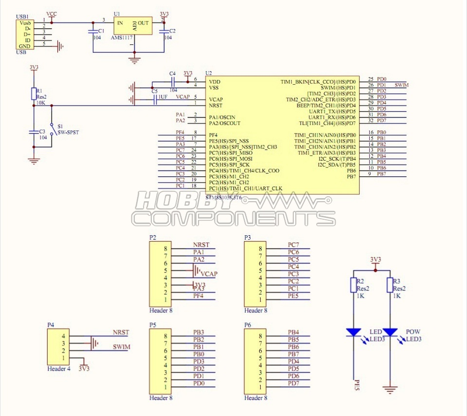 Stm8103k3 Development Board Hcdvbd0019 Watchdog Circuit Diagram Electronic Diagrams Schematics Scan Mode And Analog 28 I Os On A 32 Pin Package Including 21 High Sink Outputs Highly Robust O Design Immune Against Current Injection