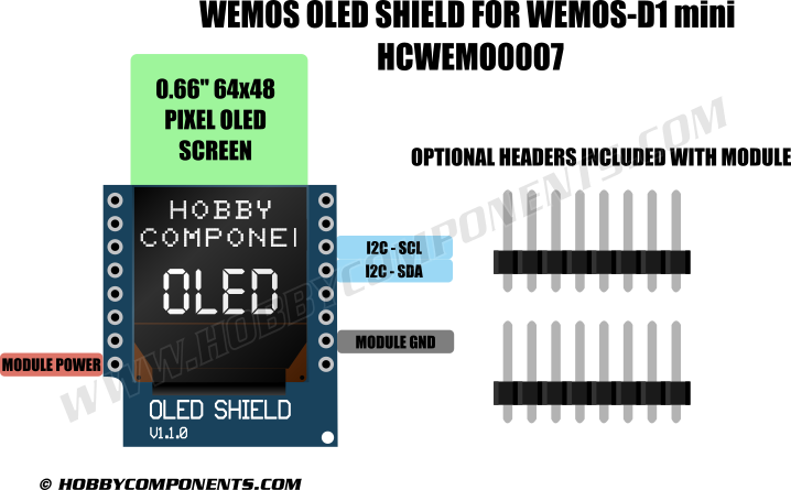 WeMos_OLED_Shield_HCWEMO0007_Diagram A Schematic Diagram Thermostat on