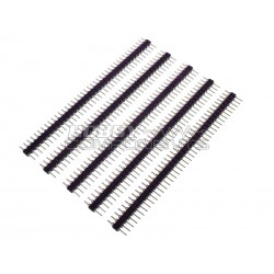 """0.1"""" 2.54mm 40way SIL turned pin M-M headers (Pack of 5)"""