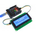 I2C 2004 Serial 20 x 4 LCD Module connected to Uno and V4.0 sensor shield (not included)