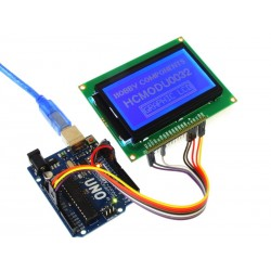 12864B Parallel/Serial Graphic LCD Module connected to Arduino Uno (Uno and dupont cable not included)