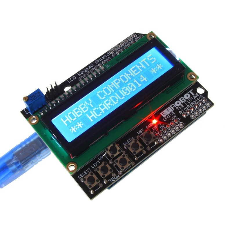 LCD Keypad Shield for Arduino 16x02 (Uno and cable not included)