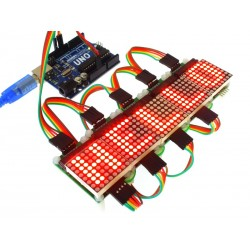 Multiple MAX7219 Serial Dot Matrix Display Modules with Uno (Uno not included)