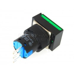 Non-Latching Rectangle Push Button Switch DC 12V (Green)
