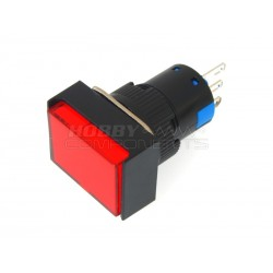 Non-Latching Rectangle Push Button Switch DC 12V (Red)