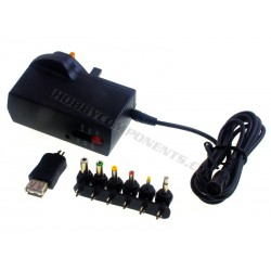 2500mA Regulated AC/DC Multi-Voltage Adaptor with USB