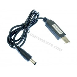 USB to 2.1mm Jack cable with 9V DC-DC step-up PSU