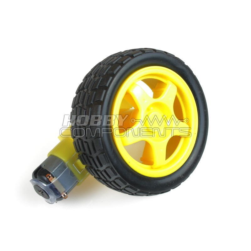 Smart Car Wheel Robot Plastic DC 3V-6V Drive Gear Motor with tire