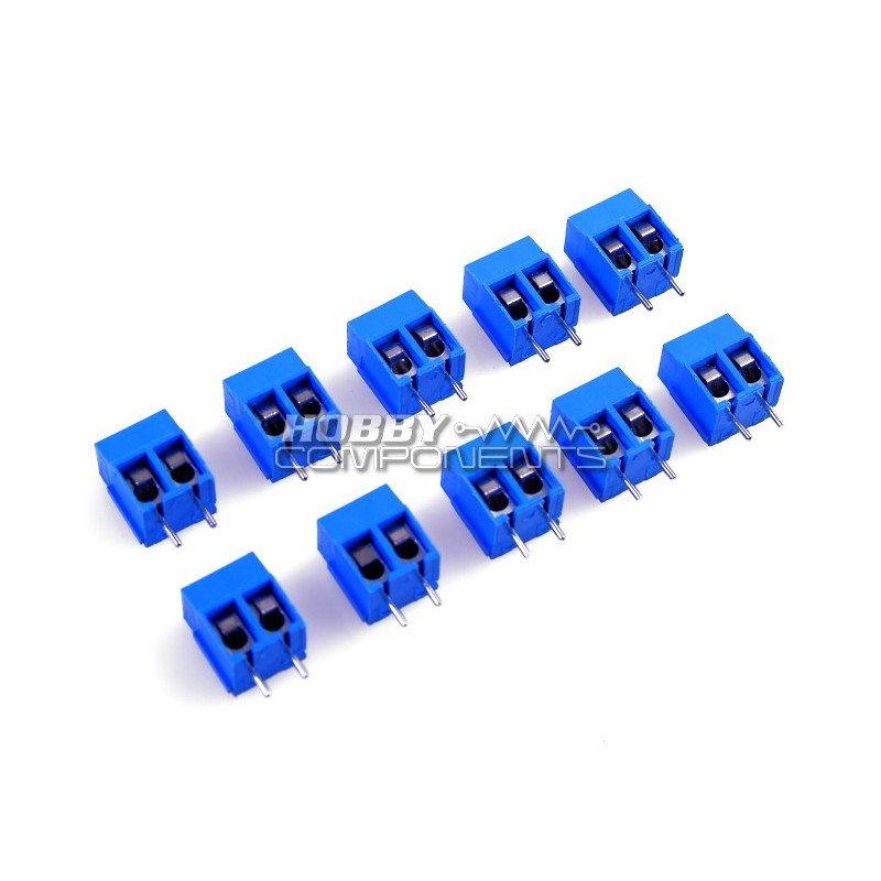 Pack of 10 - 2 Pin Screw Terminal Block Connector 5mm Pitch