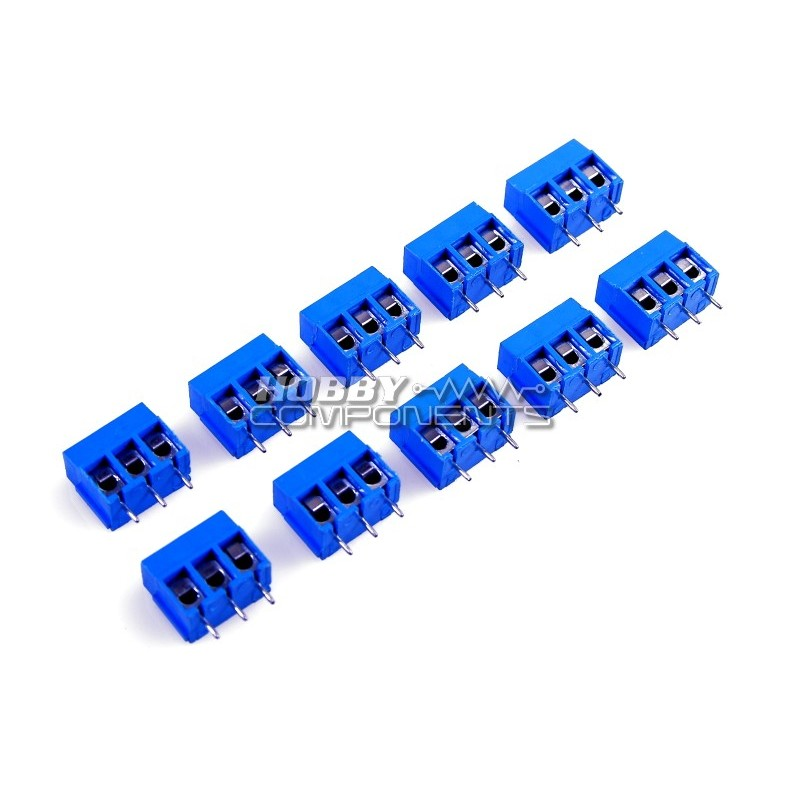 Pack of 10 - 3 Pin 5.0mm Terminal Block Connector - Blue