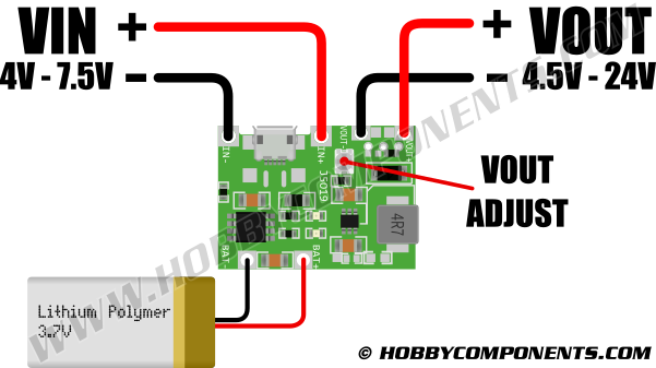 LiPo charging with step up boost converter module - Hobby